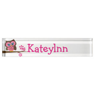 Pink Owl Custom Monogram Name Plate