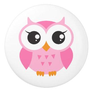 Pink owl door knob