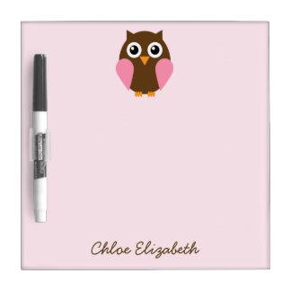Pink Owl Dry Erase Board