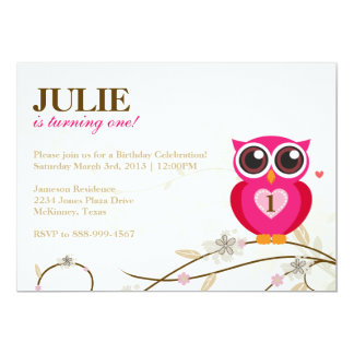 Pink Owl First Birthday Party Invitation