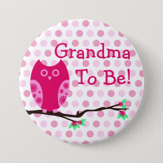 "Pink Owl ""Grandma To Be"" Baby Shower Button"