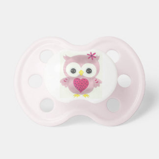 Pink Owl Graphic Baby Girl Pacifier