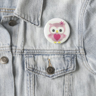 Pink Owl Graphic Button Accessory