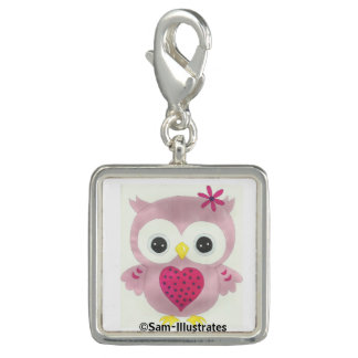 Pink Owl Graphic Charm Bracelet Charm