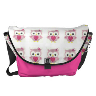 Pink Owl Graphic Pattern Messenger Bag