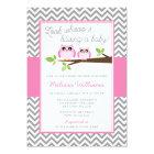 Pink Owl Grey Chevron Girl Baby Shower Card