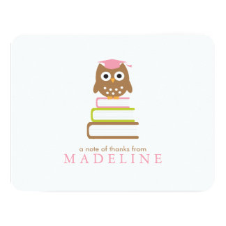 Pink Owl Kindergarten Graduation Thank You 11 Cm X 14 Cm Invitation Card