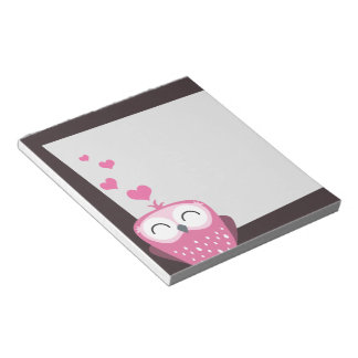 Pink Owl & Love Hearts Notepad
