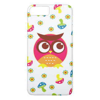 Pink Owl, Mushrooms, and Flowers iPhone 7 Plus Case