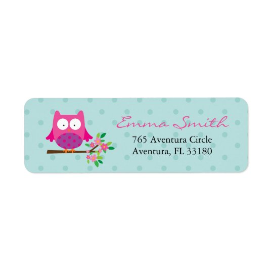 Pink Owl on a branch personalised address labels