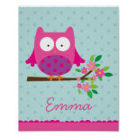 Pink Owl on a branch Personalised Nursery Poster