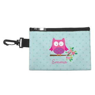 Pink Owl on a Branch Personalized Accessory Bag