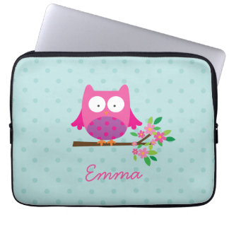 Pink Owl on a Branch Personalized Laptop Sleeve