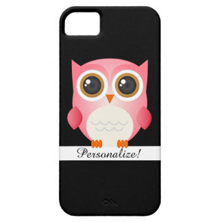Pink Owl on Black iPhone 5/5S Case Personalize
