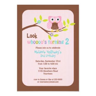 Pink Owl on Branch Child's Birthday Invitation