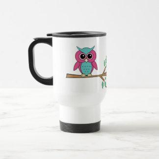 Pink owl on branches travel mug