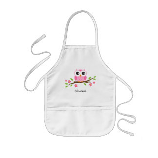 Pink owl on floral branch personalized name kids apron
