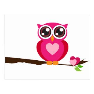 Pink Owl on Tree Branch Postcard