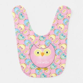 Pink Owl Pattern Design Bib