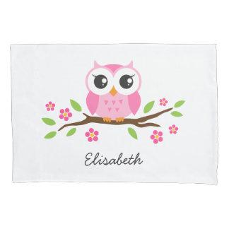 Pink owl pillowcase