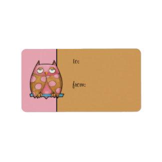 Pink Owl pink Gift Tag Address Label