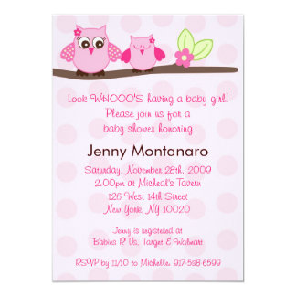 Pink Owl Polka Dots Baby Shower Invitations