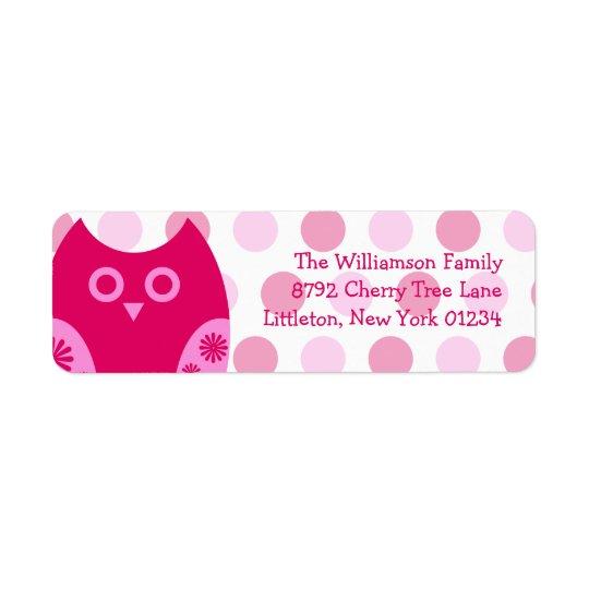 Pink Owl Return Address Labels