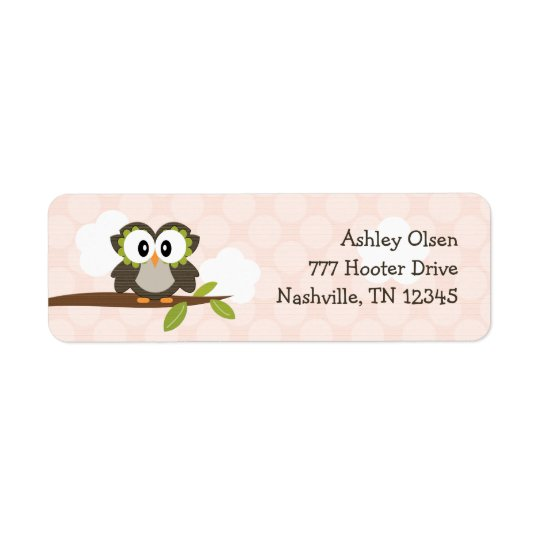 Pink Owl Return Address Labels Custom