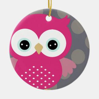 Pink Owl Round Ceramic Decoration