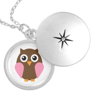 Pink Owl Round Locket Necklace