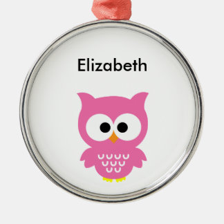 Pink Owl Silver-Colored Round Decoration