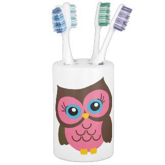 Pink Owl Soap Dispenser & Toothbrush Holder