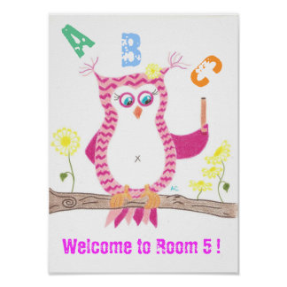 Pink owl welcome classroom poster