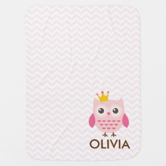 Pink Owl with a Crown Chevron Girl Baby Blanket