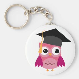 Pink Owl with Graduation Cap Keychain