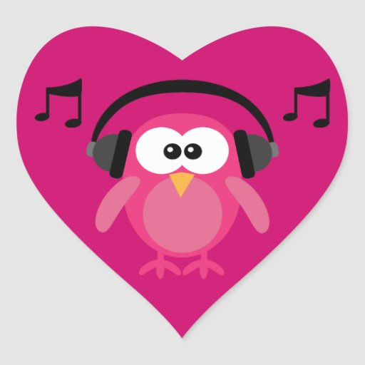 Pink Owl With Headphones & Musical Notes Stickers