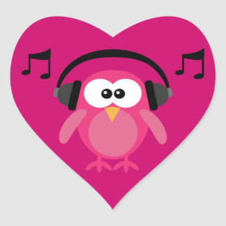 Pink Owl With Headphones Musical Notes Stickers