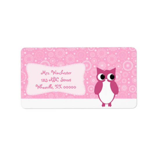 Pink Owl with Retro Circles Address Label