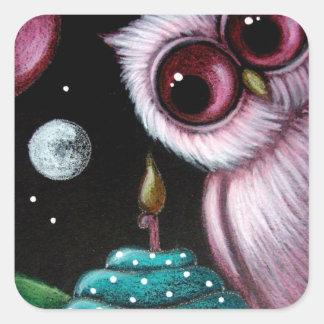 PINK OWL YOUR BIRTHDAY CUPCAKE Sticker