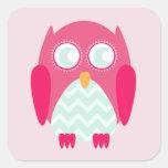 Pink Owl Zigzag Sticker