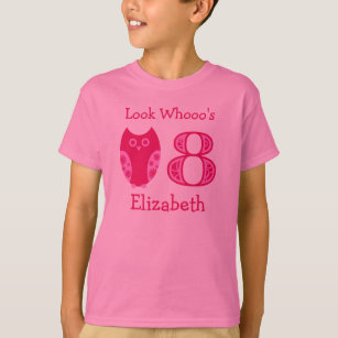 Pink Owls 8th Birthday Personalised T-Shirt