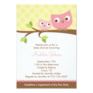 PInk Owls Baby Shower Invitation