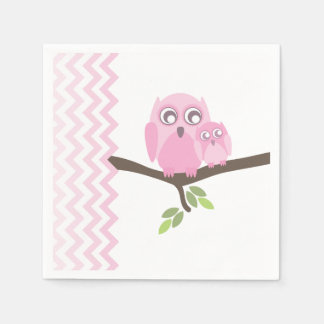 Pink Owls + Chevron Girl Baby Shower Napkins Disposable Napkins