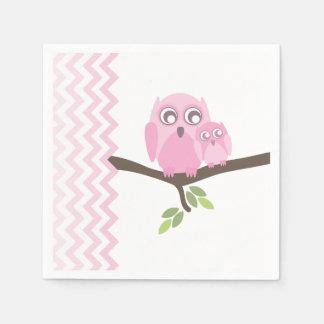 Pink Owls + Chevron Girl Baby Shower Napkins Disposable Serviette