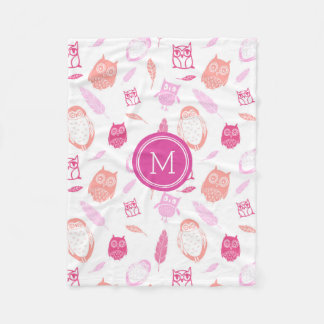 Pink Owls Feathers Pattern Monogram Blanket
