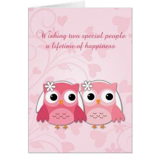 Pink Owls, Swirls and Hearts, Lesbian Wedding Card