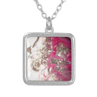 Pink paint fire square pendant necklace
