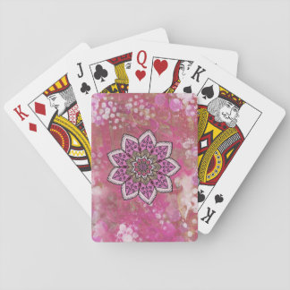 Pink Paint Flower Mandala Playing Cards