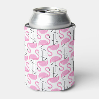 Pink Painted Flamingo Pattern Can Cooler