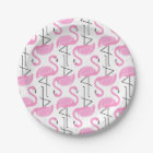 Pink Painted Flamingo Pattern Paper Plate
